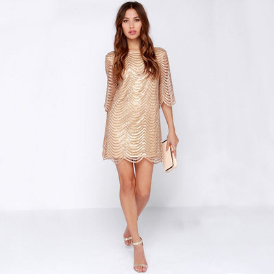 Women Metallic Dress Boat Neck Half Sleeve Backless Wave Gold Shift Party Dress Elegant Hollow Out Straight Sequin Mini Dress
