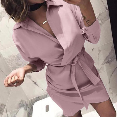 Women New Fashion Long Sleeve Autumn Casual knotted Dress Elegant Black Dresses Womens Ladies Dress vestidos verano S!75