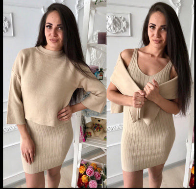 Women Pullovers Long Style Clothing Autumn Winter New Fashion Two Piece Knitted Sweaters Solid Pullovers