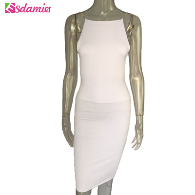 Women Sexy Club Dresses Black White Backless Night Club Party Dress Back Open Strap Bodycon Dress Wrap Bandage Dress For Women