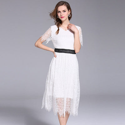 Women's dress Summer Fashion Women Boho Floral Long Maxi Dress Short sleeve Lace Evening Party Summer Beach Sundress Vestido
