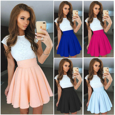 Women summer dresses new casual fashion summer sleeveless lace stitching patchwork mini dress vestidos de festa OYM0408