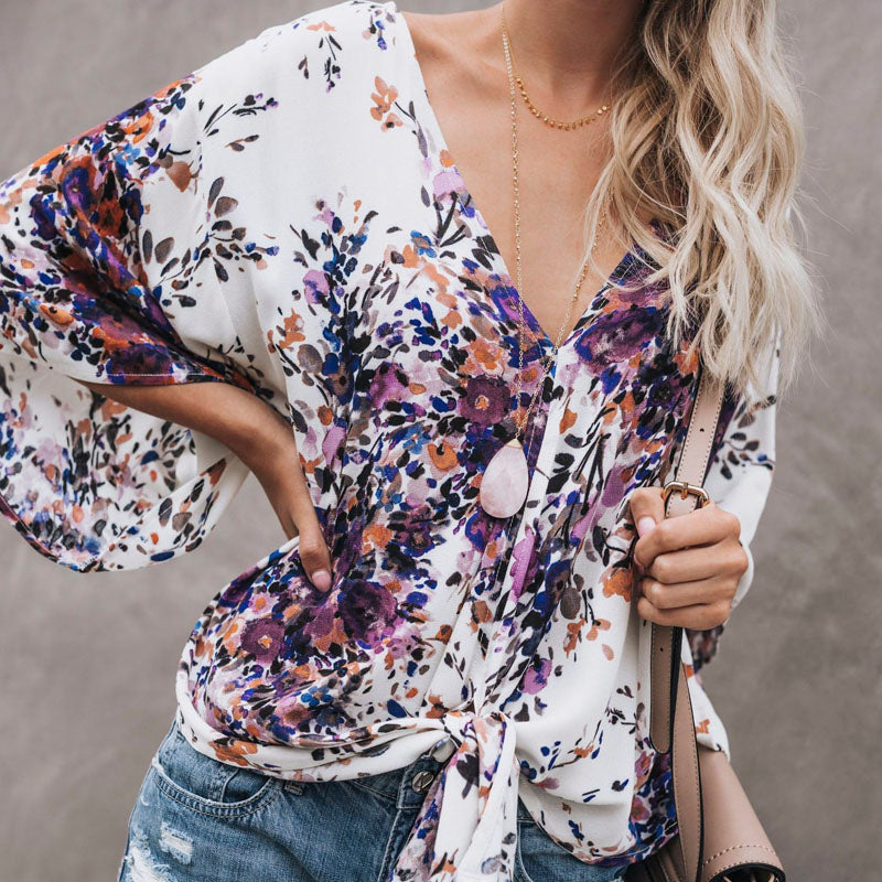 494fb3ee6094a Womens Boho Beach Summer Floral Tops and Blouses Elegant V neck Short  Sleeve Ladies Loose Bowknot