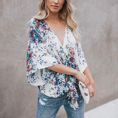 Womens Boho Beach Summer Floral Tops and Blouses Elegant V neck Short Sleeve Ladies Loose Bowknot Tee shirt femme Plus Size