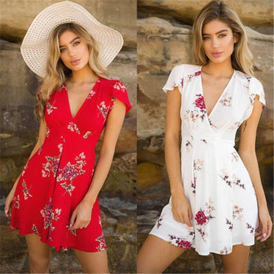 Womens Floral Printed Loose Mini Dress New 2019 Ladies V-Neck Summer Dresses Stylish Short Sleeve Evening Party Dress Vestidos