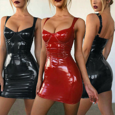 Womens Ladies Cocktail Party PVC PU Leather Bodycon Clubwear Mini Pencli Dress