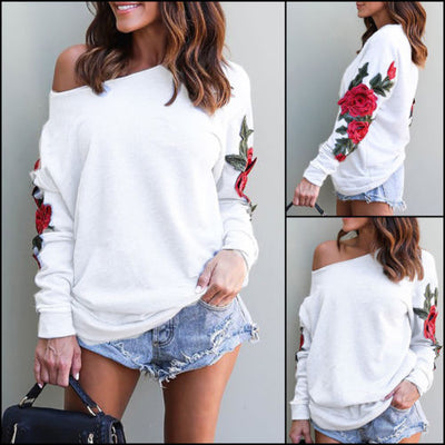 Womens Long Sleeve Floral Pullover Long Tops Sweater Casual Shirt Female Women Ladies Flower Warm Sweaters Clothing