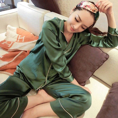 Womens Silk Satin Striped Pajamas Set Long Sleeve Sleepwear Pijama Pajamas Suit Female Sleep Two Piece Set Loungewear Plus Size