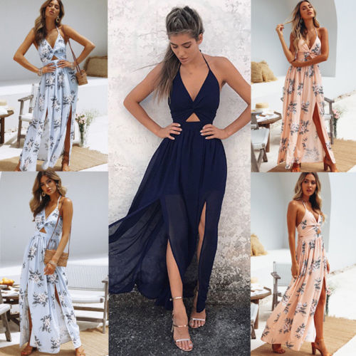 56923fedb08 Womens Summer Boho Maxi Long Dress Evening Party Beach Dresses Sundress  Floral Halter Dress Summer 2018