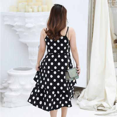 XL Women Wave Layer Layered Ruffled Chiffon Dress Spring and Spring New Backless Dress Woman Dress Elegant