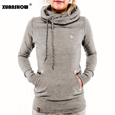 XUANSHOW Autumn Winter Womens Fashion Fleeces Hoodies Embroidery Pocket Lady Sweatshirts Hooded Casual Tracksuit Pullover Tops