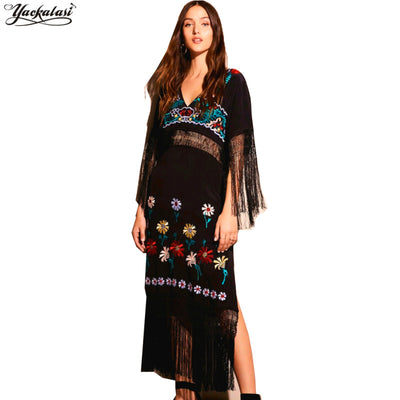 YACKALASI Long Summ Dress WomenBoho dress floral embroidered Vintage tassel flare long hippie long women dress brand clothing