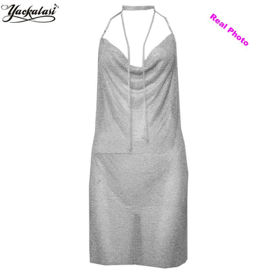 YACKALASI Women Party Dress Crystal Metal Mesh Elegant Club Dress Vesitos Diamond Straps Sexy Deep-V Halter Backless
