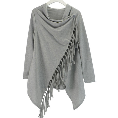 YJSFG HOUSE Spring Autumn Cardigans Tops Women Casual Loose Long Sleeve Irregular Hem Tassel Cardigan Cape Poncho Black Gray