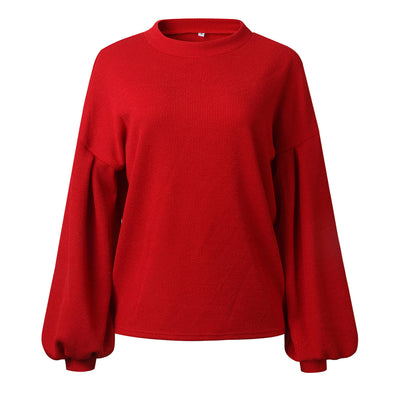 YJSFG HOUSE Womens Autumn Sweaters Long Lantern Sleeve Baggy Ladies Tops Chunky Knitted Oversized Sweater Jumper O-Neck Sweater