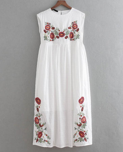 YVYVLOLO White Sleeveless boho long dress Vintage floral Embroidery Casual maxi dresses hippie women dress clothing