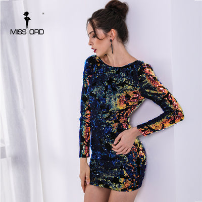 Yesexy Sexy High Neck Long Sleeve Backless Multi Color Sequin Elegant Mini Dress VR8751