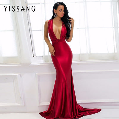 Yissang Elegant Backless Satin Maxi Dress Women Summer Red Dresses Party Sexy Long Christmas Dress Bandage Ladies Vestidos