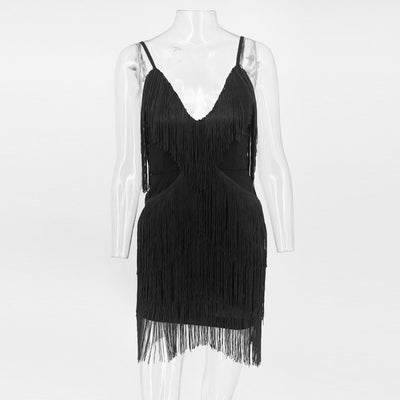 Yissang White Spaghetti Strap Dress Black Red Party Mini Dresses Women Backless V Neck Summer Clubwear Sexy Dress With Tassel