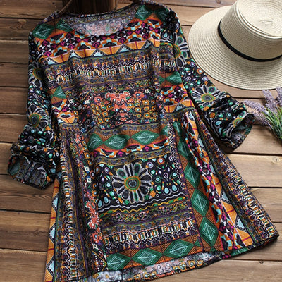 ZANZEA Fashion Women Blouse Autumn Round Neck Long Sleeve Shirt Loose Casual Vintage Print Blusas Femininas Plus Size Tops