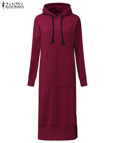 ZANZEA Women Spring Autumn Casual Loose Long Hoodies Sweatshirt Full Sleeve Fleece Split Hooded Dress Vestidos Plus Size