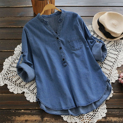 ZANZEA Women Blouse Vintage Denim Blue Shirts Autumn Casual V Neck Long Sleeve Shirt Baggy Blusa Top Work Office Vestidos