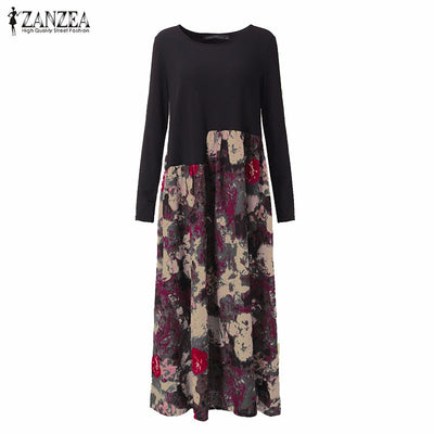ZANZEA Women Dress Autumn Vintage Casual Loose Long Sleeve Floral Print Cotton Linen Maxi Long Dress Oversized Vestidos