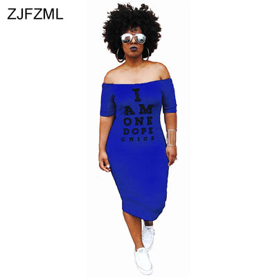ZJFZML Plus Size Casual Bodycon Dress Women Cold Shoulder Letter Printed Package Hip Dress Autumn Slash Neck Short Sleeve Dress