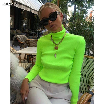 ZKYZWX Spring Knitted Sweater Womens Turtuleneck Long Sleeve Clothing Casual Knit Femme Pullovers Streetwear Neon Green Sweaters