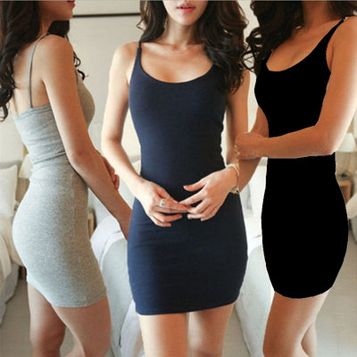 ZSIIBO Fashion Women Sexy Backless Basic Dresses Sleeveless Slim Vestidos Vest Tanks Bodycon Dress Strap Solid Party Dress