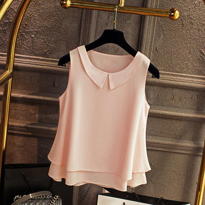 ZSIIBO Female Chiffon Women Shirts Summer Casual Top Loose Sleeveless Thin And Light Chiffon Blouse Plus Size ping