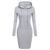 Zebery Autumn Winter Warm Sweater Long-sleeved Dress Woman Clothing Hooded Collar Pocket Design Simple Woman Dress