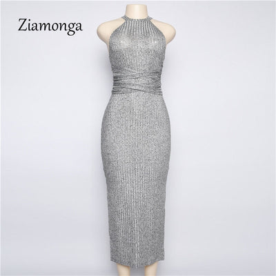 Ziamonga Summer Style Knitted Dress Women Halter Neck Backless Maxi Dress Women High Split Clubwear Party Bandage Dresses