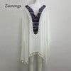 Ziamonga White Boho Mini Dress Vintage Floral Printed Tassel Batwing Long Sleeve Casual Dresses Hippie Beach Women Dress
