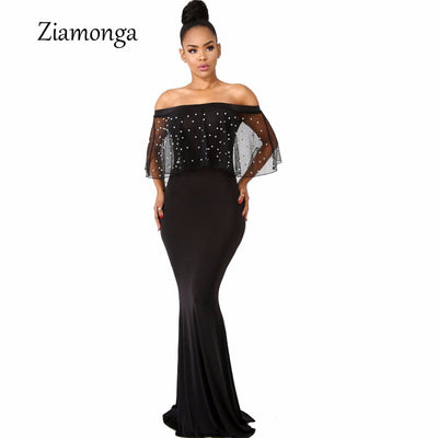 Ziamonga Women Black Long Dress Plus Size Ruffles Beaded Off Shoulder Mermaid Dress For Evening Party Short Sleeve Vestidos