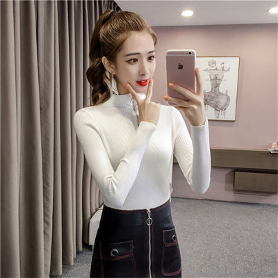 Zipper Korean Knitted Pullover Black Sweater Turtleneck Pull Femme Manche Longue Autumn Casual Slim Warm Sweater Trui Dames