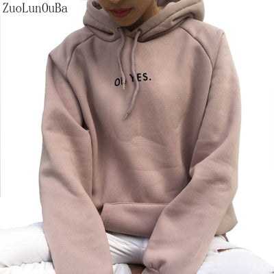 ZuoLunOuBa Spring Autumn Fashion Women Thin Section Long-sleeved Sweater Letter Oh Yes Loose Pullover Female S-xxl