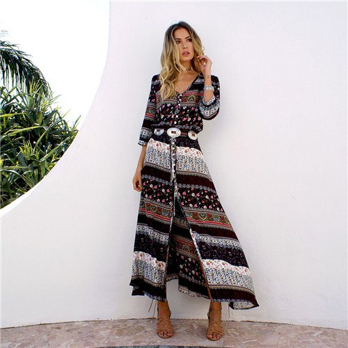 bohemia brand clothing maxi long desses V-neck hippie dresses Boho dress  chic floral print Casual Plus size Black,Blue,Wine Red