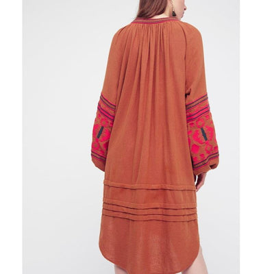 boho dress autumn cotton floral embroidery large lantern long sleeve o-neck loose style long Hippie brand women dresses