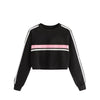 bts sweatshirt O-Neck Splicing Stripe Pullover Sweatshirt Striped Splicing Hoodies Ladies Girls Autumn Winter Women sudadera