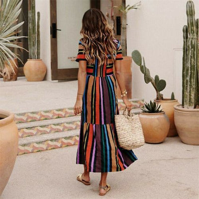 Womens Party Evening Boho Maxi Dress Ladies Holiday Long Sleeve Cocktail