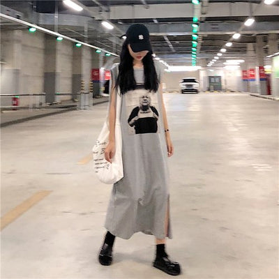 fashion brand Women Clothing New summer character print temperament sleeveless Split t-shirts backless tank vest long dresses