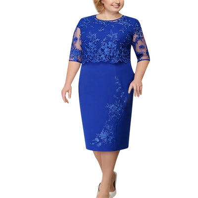 Plus Size Women Lace Dress Short Sleeve Midi Dress women Evening Party Dress vestidos de fiesta #w30