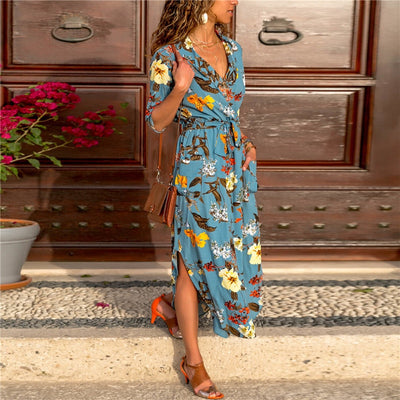 gogoboi Womens Floral Stripes Long Sleeve v neck dress Ladies Casual Paty Long Shirt Dress summer casual dress