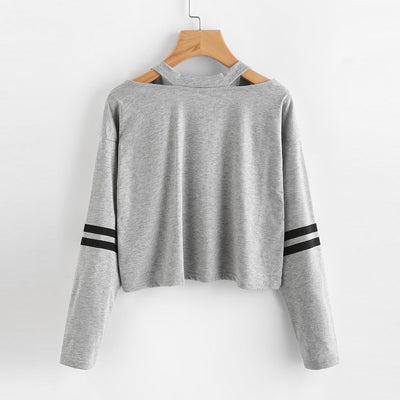 gray Printing Short Sweatshirt for women Fashion Womens Long Sleeve Sweatshirt V Neck Causal harajuku Tops Freeshipping