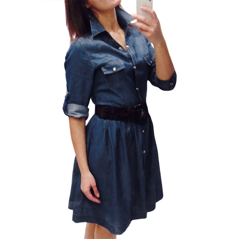 high quality autumn denim dress clothing plus size women Jeans dress  elegant spring slim cowboy casual 44fbe3fec35f