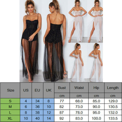 hirigin summer dresses sexy Women Solid Causal white Dot Lace Evening Party sllim Long Dress vestidos Fine Sling Sundress