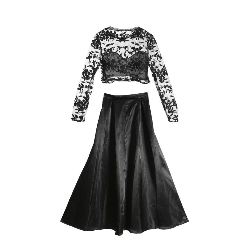 df86932c1f479 hirigin Women Dress Sexy Embroidery Lace black two-piece Long Sleeve O-neck  Vintage Christmas Party Prom Gown Cocktail Dress