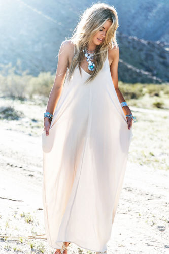 hirigin Women beach summer solid white dress lady Cotton Casual Long Dress Hippie People Asymmetric dress female women