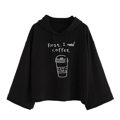 hoody ladies zipper winter Women long Sleeve Black Letter Print Hooded Sweatshirt Pullovers poleron mujer